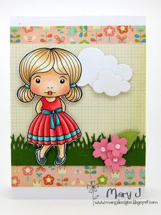 From our Design Team! Card by Mary Johnson featuring Fancy Marci and these Dies - Cherry Blossom Flowers, Berry Flourish, Grass Border :-) Shop for our products here - shop.lalalandcrafts.com Coloring details and more Design Team inspiration here - http://lalalandcrafts.blogspot.ie/2014/09/inspiration-friday-show-your-style.html