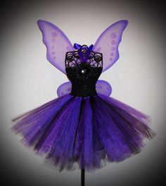 Love This!!!  Purple and Black Tutu Dress - Fairy Set - Includes Wings