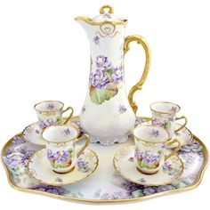 limoges chocolate set   Victorian porcelain chocolate set and tray Limoges Ginori hand painted ...