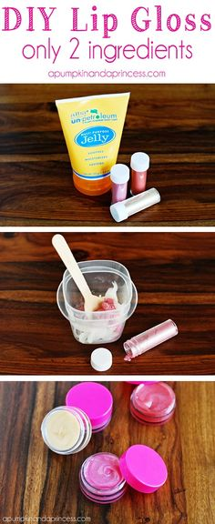 Easy Two-Ingredient DIY Lip Gloss I love this idea! I've made plenty of lip glosses in my day, but never thought to use an edible pearl dust. This is perfect for little girls! Homemade Beauty, Diy Beauty, Homemade Things, Homemade Soaps, Edible Pearl Dust, Diy Peeling, Spa Birthday Parties, Birthday Crafts, Birthday Recipes