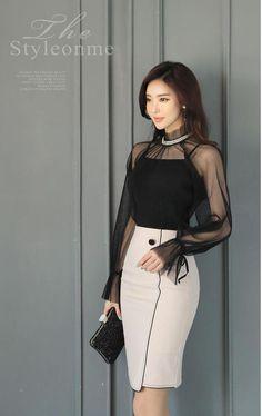 Two Button Black Trim Line Pencil Skirt Korean Women's Fashion Shopping Mall, Styleonme. Curvy Fashion, Look Fashion, Korean Fashion, Girl Fashion, Fashion Dresses, Womens Fashion, Fashion Design, Maxi Dresses, Fashion Fashion