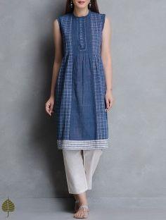 Indigo-White Pleated Natural Dye Handloom Cotton Kurta by Jaypore