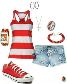 red/white striped tank, lace up denim shorts, red chucks