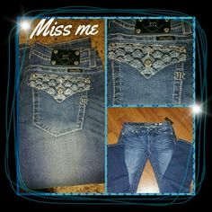 Brand new MISS ME JEANS with tags 1st 2 pictures were taken with flash , was trying to show the gorgeous design on pockets.  Brand new ,with tags size 31 gorgeous pair of MISS ME JEANS  , slim boot , inseam 34 , flap pockets are embellished with light blue sequins and diamond crystals . Pictures definitely doesn't do them the justice they truly deserve.i love them but I ordered them and I lost alot of weight and I can't wear them  No Trades No PayPal and please no low ball offers these have…