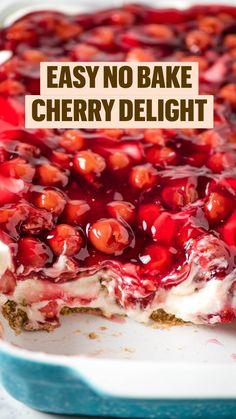 Strawberry Dessert Recipes, Cherry Desserts, Sweet Desserts, Fruit Recipes, Easy Desserts, Sweet Recipes, Jam Recipes, Cooking Recipes, Delicious Desserts