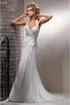 Vintage Hater Sweatheart Neckline A-line Chiffon Wedding Dresses Court Train Bridal Dress