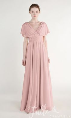 6a88388dc Dusty Rose Elegant Chiffon Long V Neck Bridesmaid Dress with Cap Sleeves  TBQP441 Novios