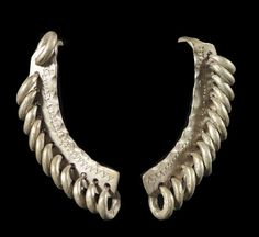 Africa | Ear adornments from the Fulani/Peul people of Mali | Silver alloy