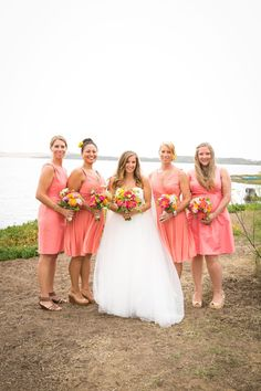 Coral bridesmaid dresses, short dress, cocktail length, mismatched, California wedding // A. Blake Photography