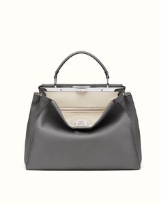 FENDI SELLERIA PEEKABOO - Handbag in grey Roman leather