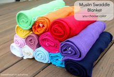 Large 42x42 Cotton Gauze/Muslin Swaddle by sweetheartnsunshine, $11.50...this would almost be worth finding out the gender for. How will we ever pick the right color???