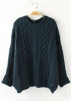Gorgeous Dark Green Long Sleeve Thick Loose Knit Sweater #knit #sweater