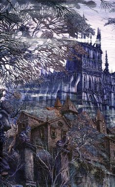 Section  / Arkham  1990's  H.P.  Lovecraft story.      Pen-brush - ink - watercolour- illustration board.  Another private commission for a ...
