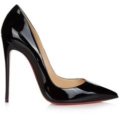 Christian Louboutin So Kate 120mm patent-leather pumps (2,480 AED) ❤ liked on Polyvore featuring shoes, pumps, heels, christian louboutin, black, black heel pumps, pointy toe pumps, black stiletto pumps, christian louboutin pumps and black pointed toe pumps