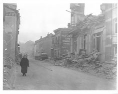 Bomb damage, the result of a German ten-day siege of the 101st Airborne Division in Bastogne, Belgium. 12/26/44.