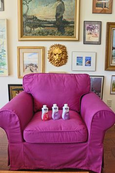 Dyeing an Ektorp Slipcover, awesome fuschia ikea slipcover DIY, ikea hack, RIT dye, diy dye your furniture