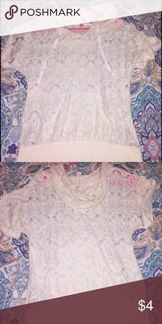 Lace style cream hooded shirt size L 11/13 Comfortable hooded short sleeve shirt with banded bottom. Wear over your favorite cami or tank top! Size large and roomy makes this a summer night or cool fall top. Used less than a handful of times. No boundaries brand. No Boundaries Tops Tees - Short Sleeve