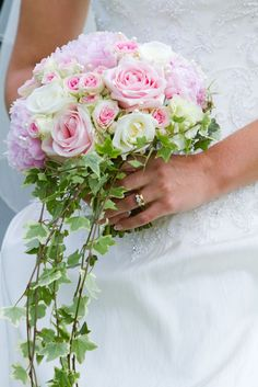 not your colors but here's an example of the round bouquet with the ivy trailing