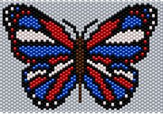 Red, White and Blue Butterfly Brick/Peyote Pattern 60 Columns X 32 Columns (Pattern by me, Man in the Book) Melty Bead Patterns, Perler Patterns, Peyote Patterns, Craft Patterns, Beading Patterns, Stitch Patterns, Pony Bead Crafts, Beaded Crafts, Butterfly Pattern