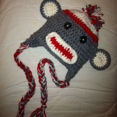 Sock monkey infant hat! @Julie Burden Williams