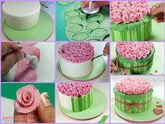 Şeker hamurundan güllü pasta yapımı