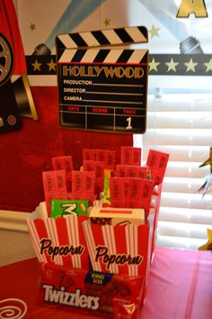 For the Hollywood themed party - movie viewing goodie box.