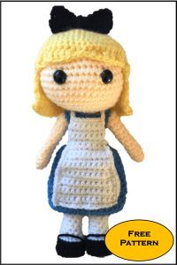 Free Alice in Wonderland Amigurumi Pattern (Disney Princess!) Lots of other free amigurumi patterns available including Harry Potter. Crochet Disney, Crochet Amigurumi Free Patterns, Crochet Doll Pattern, Crochet Toys, Crochet Beanie, Margarita Crochet, Rabbit Crafts, Tsumtsum, Amigurumi Doll