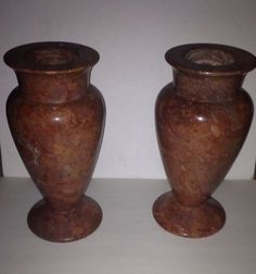 Vase Vases Red Marble Italian Heavy Collectable Vintage