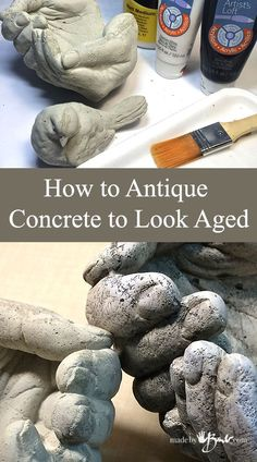 Learn how to Antique Concrete to look aged with these simple step by step instructions and pictures. Easily create texture with Acrylic paint & matt medium