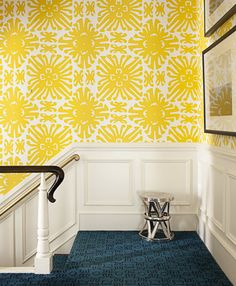 This bold, graphic wallpaper that designer Amanda Nisbet used here (Sigourney in Yellow on White by China Seas) is everything! Such a great way to enliven easily forgotten spaces like a stairway and landing