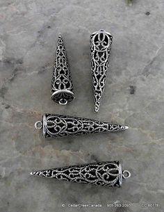 Antique Silver 11x41 Brass Cone Pendant        by CedarCreekCanada