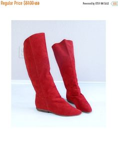 894ebd97164 vtg 80s RED suede leather TALL BOOTS boho 7 flat knee high tall shoes retro  preppy