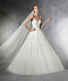 PRALA - Abito da sposa in tulle in stile principessa con particolari in strass