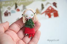 Little Christmas Girl and her Tiny House Art Doll by miopupazzo