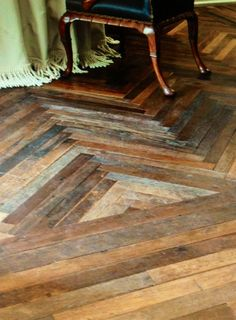 Reclaimed wood floor  Angle your wood. Looks designed.  Edgy and even a bit contemporary.