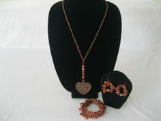 Valentine, copper heart, gold stone pendant, three piece jewelry set.
