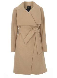 Camel Belted Wrap Front Coat #DorothyPerkins