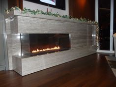 Custom Fireplace in Trizina Silver travertine Natural Stone Fireplaces, Custom Fireplace, Travertine, Houzz, Natural Stones, Marble, Silver, Home Decor, Fire Places
