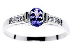 Vintage pierścionek zaręczynowy z białego złota z tanzanitem i brylantami - GRAWER W PREZENCIE | PIERŚCIONKI ZARĘCZYNOWE \ Brylanty \ Tanzanit naturalny NA PREZENT \ Narodziny Dziecka od GESELLE Jubiler