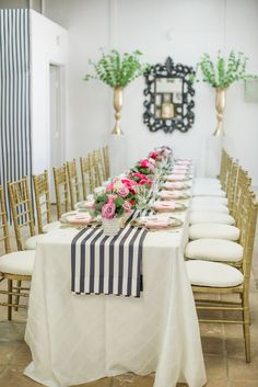 A Valentine's Day Friendship Brunch | Posh Floral Designs | Purple Roses | Centerpiece Ideas | Black and White Stripe Runner | M&M Special Event Rentals | Dyan Kethley Photography