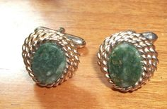 Vintage Connemara Marble CUFFLINKS by feathersoup on Etsy, $14.00