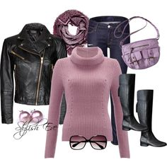 """Purple & Leather Casual"" by stylisheve on Polyvore"