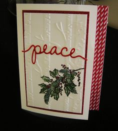 by Donna: Peaceful Wreath, Red Foil & Glimmer papers, Christmas Greetings Thinlits, Woodland embossing folder - all from Stampin' Up!
