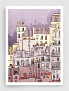 SALE, Paris illustration - Paris, Montmartre (purple) - Art illustration,Art prints,Art Posters,Paris art,Paris decor,wall decor,grey,purple