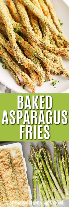 These oven-baked Asparagus Fries are the perfect summer appetizer. Serve to a crowd, with a side of aioli, for your next outdoor BBQ! Quick Recipes, Vegetable Recipes, Cooking Recipes, Healthy Recipes, Oven Baked Asparagus, Asparagus Fries, Baked Artichoke Hearts Recipe, Veggie Dishes, Side Dishes