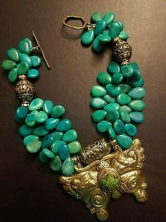 Tibetan Brass Butterfly Chrysocolla Gemstone Choker Statement Necklace TURQUOISE