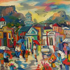 Flower sellers of the old Cape South African Artists, Cape, Old Things, Flowers, Painting, Mantle, Cabo, Painting Art, Paintings