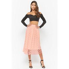Forever21 Rosette Tulle Midi Skirt ($48) ❤ liked on Polyvore featuring skirts, pink, elastic waist skirt, white tulle skirts, full length tulle skirt, midi skirt and white midi skirt