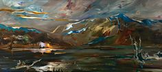 Autumn Light, mixed media painting by Joel Masewich Mountain Paintings, Nature Paintings, Landscape Paintings, Spring Landscape, Beach Landscape, Headboard Art, Modern Art, Contemporary Art, Lake Painting