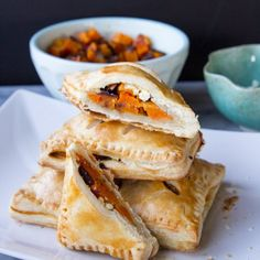 Delicious flaky hand pies with roasted butternut squash, red onions, and feta cheese.